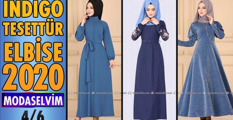 2020 Kış Modaselvim İndigo Tesettür Elbise Modelleri 4/6