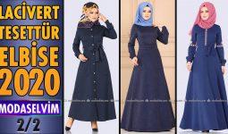 2020 Kış Modaselvim Lacivert Tesettür Elbise Modelleri 2/2   Modaselvim Elbise Modelleri