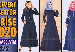 2020 Kış Modaselvim Lacivert Tesettür Elbise Modelleri 2/2 | Modaselvim Elbise Modelleri