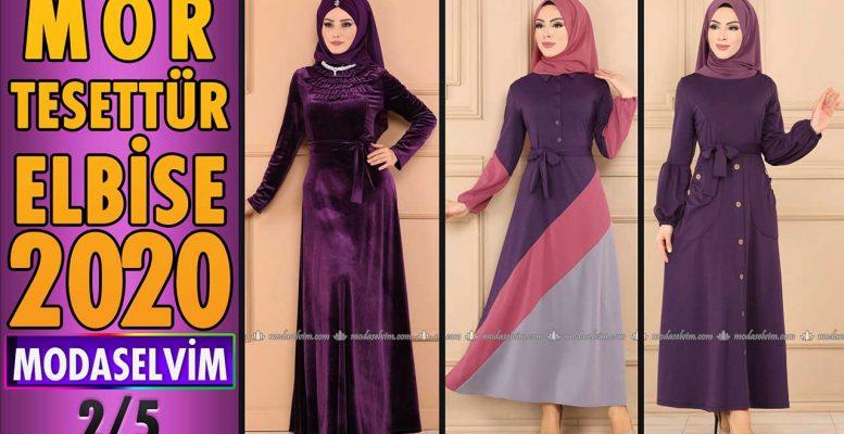 2020 Kış Modaselvim Mor Tesettür Elbise Modelleri 2/5 | Modaselvim Elbise Modelleri