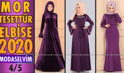 2020 Kış Modaselvim Mor Tesettür Elbise Modelleri 4/5 | Modaselvim Elbise Modelleri