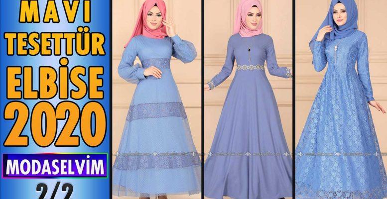 2020 Kış Modaselvim Mavi Tesettür Elbise Modelleri 2/2 | Modaselvim Elbise Modelleri
