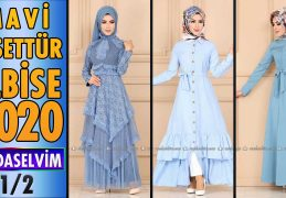 2020 Kış Modaselvim Mavi Tesettür Elbise Modelleri 1/2 | Modaselvim Elbise Modelleri
