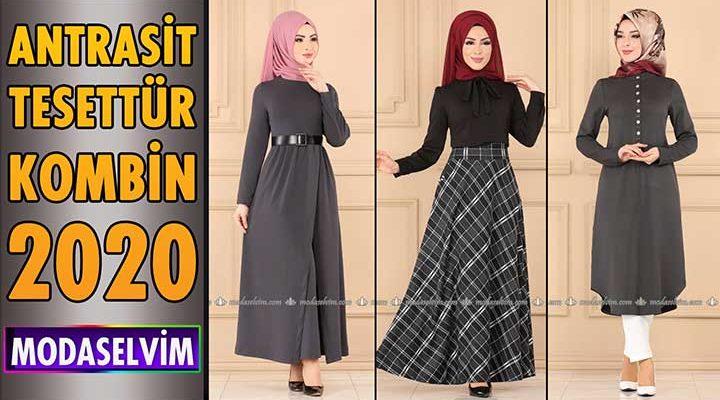 Antrasit Modaselvim Tesettür Kombinleri 2020   Hijab Fashion Combinations