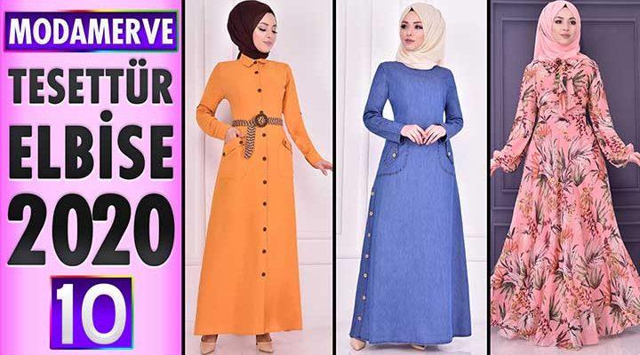 Modamerve Elbise Modelleri 2020 [ 10 ]   Moda Merve Yeni Sezon Tesettür Elbise Modelleri