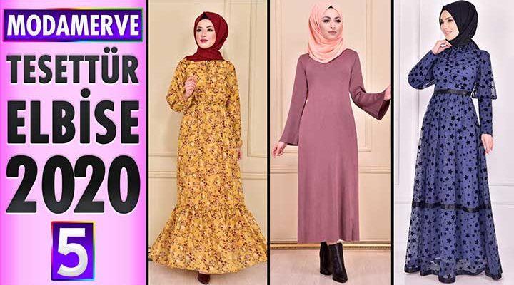 Modamerve Elbise Modelleri 2020 [ 5 ]   Moda Merve Yeni Sezon Tesettür Elbise Modelleri