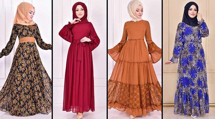 2020 ModaMerve Şifon Tesettür Elbise Modelleri 5 | Chiffon Dresses - Chiffon Kleid