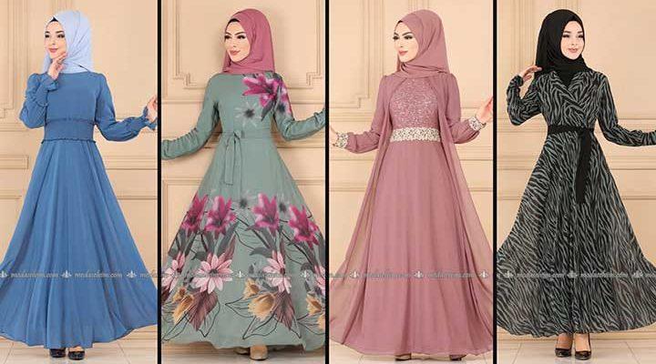 2020 Modaselvim Şifon Tesettür Elbise Modelleri 2 | Moda Selvim Şifon Elbise Modelleri - Kleid