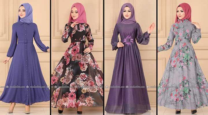 2020 Modaselvim Şifon Tesettür Elbise Modelleri 4 | Moda Selvim Şifon Elbise Modelleri - Kleid