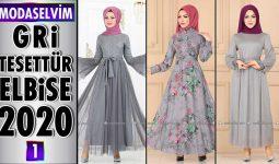 Modaselvim Gri Elbise Modelleri 2020 [ 1 ] | Moda Selvim Yeni Sezon Tesettür Elbise Modelleri