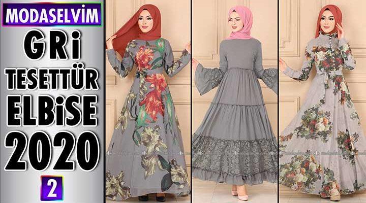 Modaselvim Gri Elbise Modelleri 2020 [ 2 ] | Moda Selvim Yeni Sezon Tesettür Elbise Modelleri