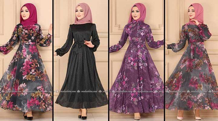 2020 Modaselvim Şifon Tesettür Elbise Modelleri 6 | Moda Selvim Şifon Elbise Modelleri - Kleid