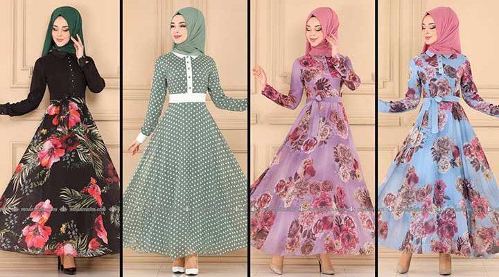 2020 Modaselvim Şifon Tesettür Elbise Modelleri 7 | Moda Selvim Şifon Elbise Modelleri - Kleid