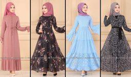 2020 Modaselvim Şifon Tesettür Elbise Modelleri 9 | Moda Selvim Şifon Elbise Modelleri - Kleid