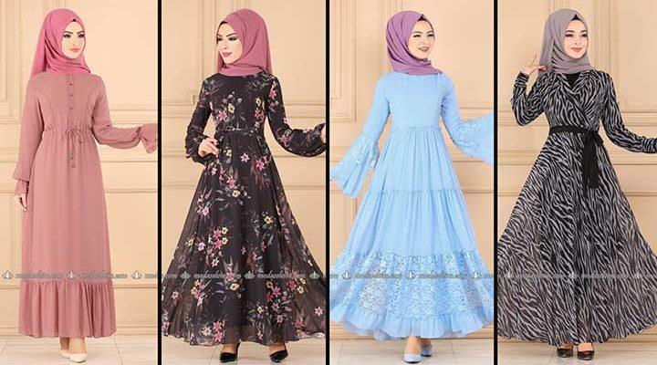 2020 Modaselvim Şifon Tesettür Elbise Modelleri 9   Moda Selvim Şifon Elbise Modelleri - Kleid