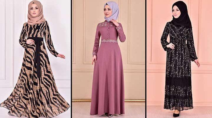 Yeni Sezon Moda Merve Şifon Tesettür Elbise Modelleri 7   Chiffon Dresses - Chiffon Kleid
