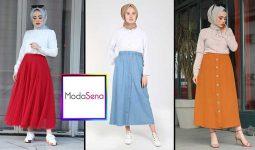 Moda Sena Yeni Sezon (Sonbahar) Tesettür Etek Modelleri ve Fiyatları 2 | ModaSena Etek Modelleri