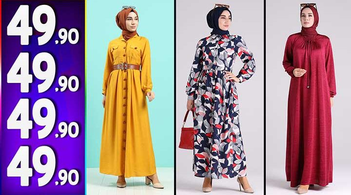 Sefamerve 49,90 TL Elbise Modelleri 1   Yeni Sefamerve Kampanya İndirim Tesettür Elbise Modelleri