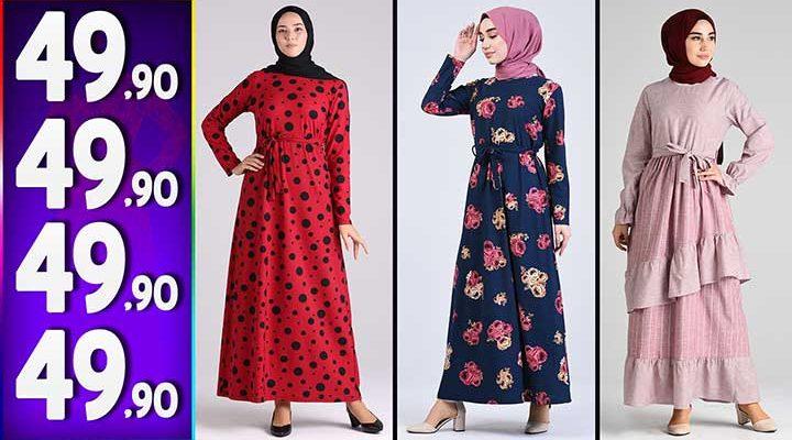 Sefamerve 49,90 TL Elbise Modelleri 2 | Yeni Sefamerve Kampanya İndirim Tesettür Elbise Modelleri