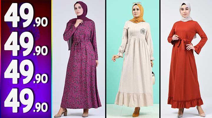 Sefamerve 49,90 TL Elbise Modelleri 4 | Yeni Sefamerve Kampanya İndirim Tesettür Elbise Modelleri
