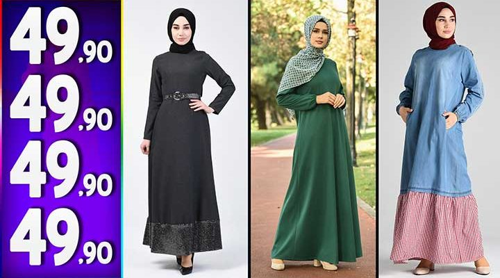 Sefamerve 49,90 TL Elbise Modelleri 5 | Yeni Sefamerve Kampanya İndirim Tesettür Elbise Modelleri