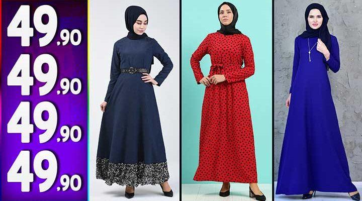 Sefamerve 49,90 TL Elbise Modelleri 7 | Yeni Sefamerve Kampanya İndirim Tesettür Elbise Modelleri