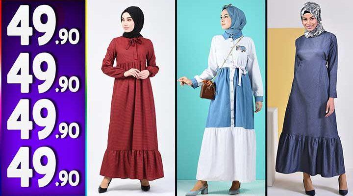 Sefamerve 49,90 TL Elbise Modelleri 8   Yeni Sefamerve Kampanya İndirim Tesettür Elbise Modelleri