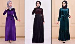 Modamerve 2021 Kadife Tesettür Elbise Modelleri 4 | 2021 Trend Tesettür Elbise Modelleri