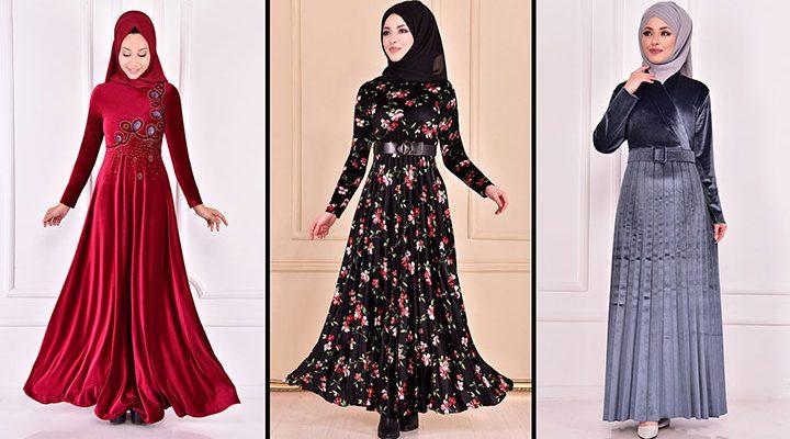 Modamerve 2021 Kadife Tesettür Elbise Modelleri 7 | 2021 Trend Tesettür Elbise Modelleri