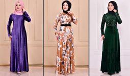 Modamerve 2021 Kadife Tesettür Elbise Modelleri 8 | 2021 Trend Tesettür Elbise Modelleri