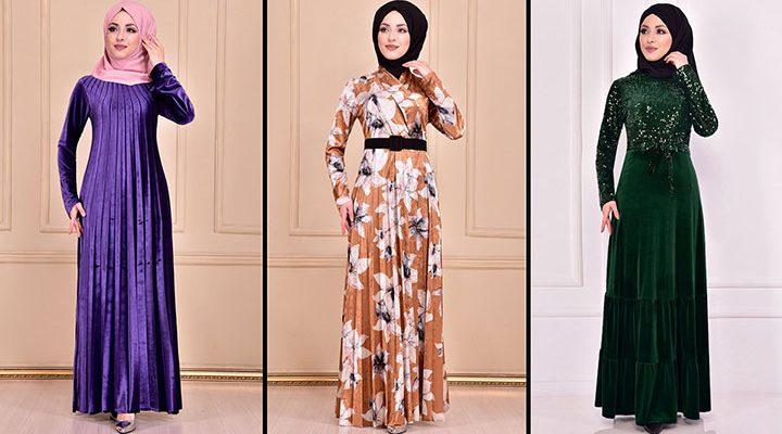 Modamerve 2021 Kadife Tesettür Elbise Modelleri 8   2021 Trend Tesettür Elbise Modelleri