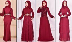2021 Şifon Bordo Tesettür Abiye Elbise Modelleri 1 ( Moda Merve Abiye Modelleri 2021)