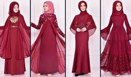 2021 Şifon Bordo Tesettür Abiye Elbise Modelleri 2 ( Moda Merve Abiye Modelleri 2021)