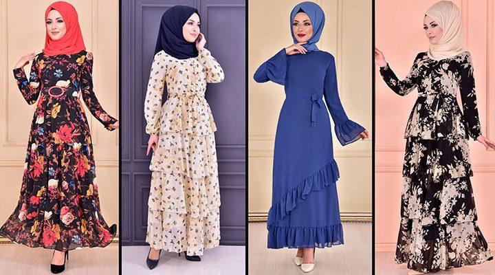 2021 Şifon Fırfırlı Tesettür Elbise Modelleri 1 ( Moda Merve Fırfılı Günlük Elbise Modelleri 2021)