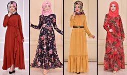 2021 Şifon Fırfırlı Tesettür Elbise Modelleri 2 ( Moda Merve Fırfılı Günlük Elbise Modelleri 2021)