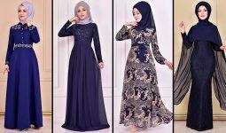2021 Şifon Lacivert Tesettür Abiye Elbise Modelleri ( Moda Merve Abiye Modelleri 2021)