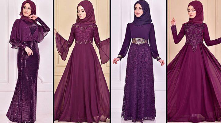 2021 Şifon Mor Tesettür Abiye Elbise Modelleri 1 ( Moda Merve Abiye Modelleri 2021)