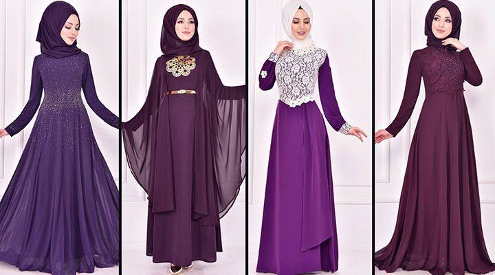 2021 Şifon Mor Tesettür Abiye Elbise Modelleri 2 ( Moda Merve Abiye Modelleri 2021)