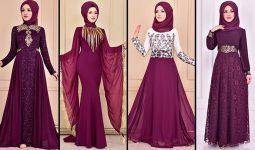 2021 Şifon Mürdüm Tesettür Abiye Elbise Modelleri ( Moda Merve Abiye Modelleri 2021)
