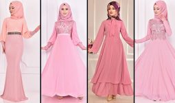2021 Pudra Şifon Tesettür Abiye Elbise Modelleri ( Moda Merve Abiye Modelleri 2021)