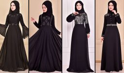 2021 Şifon Siyah Tesettür Abiye Elbise Modelleri 1 ( Moda Merve Abiye Modelleri 2021)