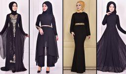 2021 Şifon Siyah Tesettür Abiye Elbise Modelleri 2 ( Moda Merve Abiye Modelleri 2021)