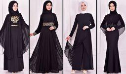 2021 Şifon Siyah Tesettür Abiye Elbise Modelleri 3 ( Moda Merve Abiye Modelleri 2021)