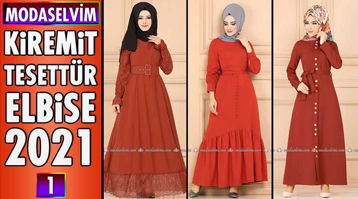 2021 Modaselvim Kiremit Rengi Tesettür Elbise Modelleri 2   Moda Selvim Elbise Modelleri 2021