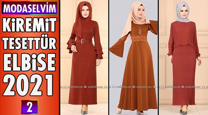 2021 Modaselvim Kiremit Rengi Tesettür Elbise Modelleri 2 | Moda Selvim Elbise Modelleri 2021