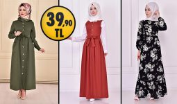 ModaMerve 39,90 TL Ucuz Günlük Tesettür Elbise Modelleri 1 | Modamerve Elbise Modelleri 2021