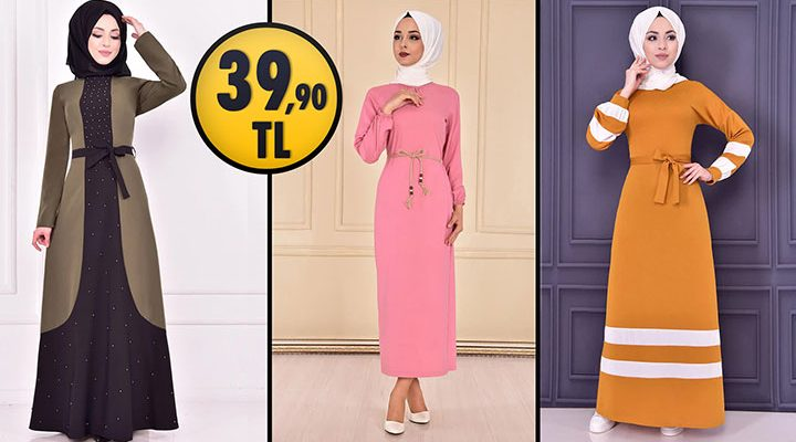 ModaMerve 39,90 TL Ucuz Günlük Tesettür Elbise Modelleri 2 | Modamerve Elbise Modelleri 2021