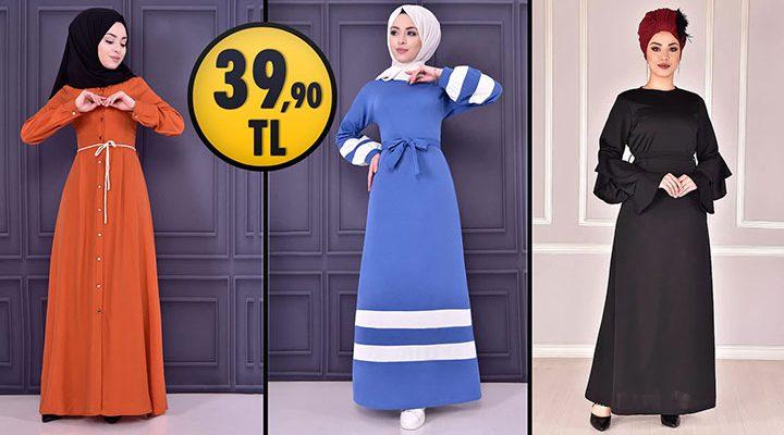 ModaMerve 39,90 TL Ucuz Günlük Tesettür Elbise Modelleri 3 | Modamerve Elbise Modelleri 2021