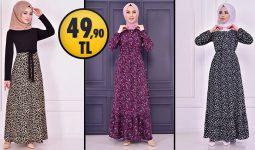 ModaMerve 49,90 TL Ucuz Günlük Tesettür Elbise Modelleri 2 | Modamerve Elbise Modelleri 2021
