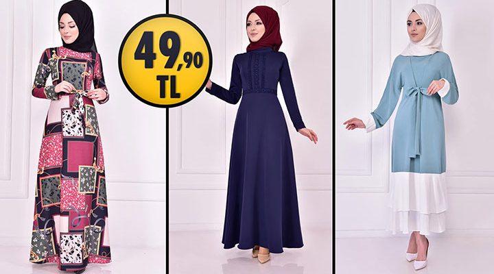 ModaMerve 49,90 TL Ucuz Günlük Tesettür Elbise Modelleri 6   Moda Merve Elbise Modelleri 2021